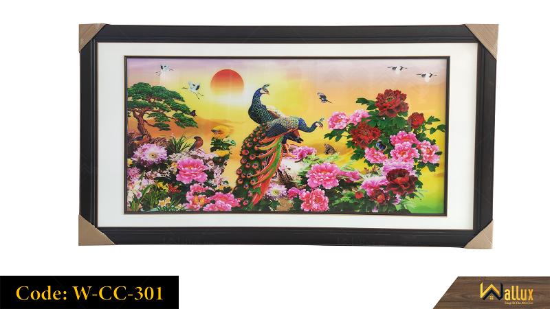 Tranh treo tường pha lê tráng gương chim công hoa mẫu đơn W-CC-301