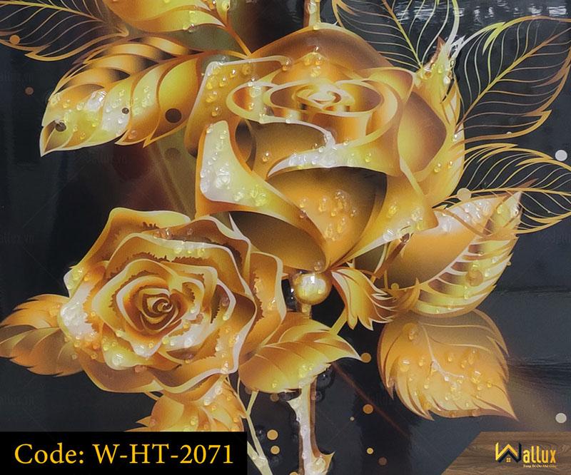 Tranh treo tường pha lê tráng gương hoa hồng dát vàng W-HT-2071