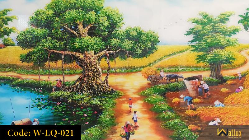 Tranh treo tường pha lê tráng gương làng quê thanh bình W-LQ-021