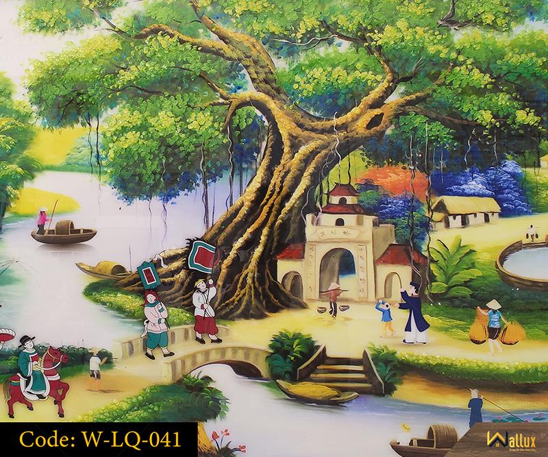 Tranh treo tường pha lê tráng gương Vinh Quy Bái Tổ W-LQ-041