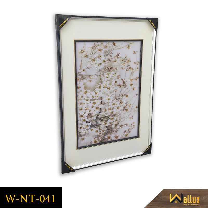 Tranh treo tường pha lê tráng gương hoa trắng nhụy vàng W-NT-041