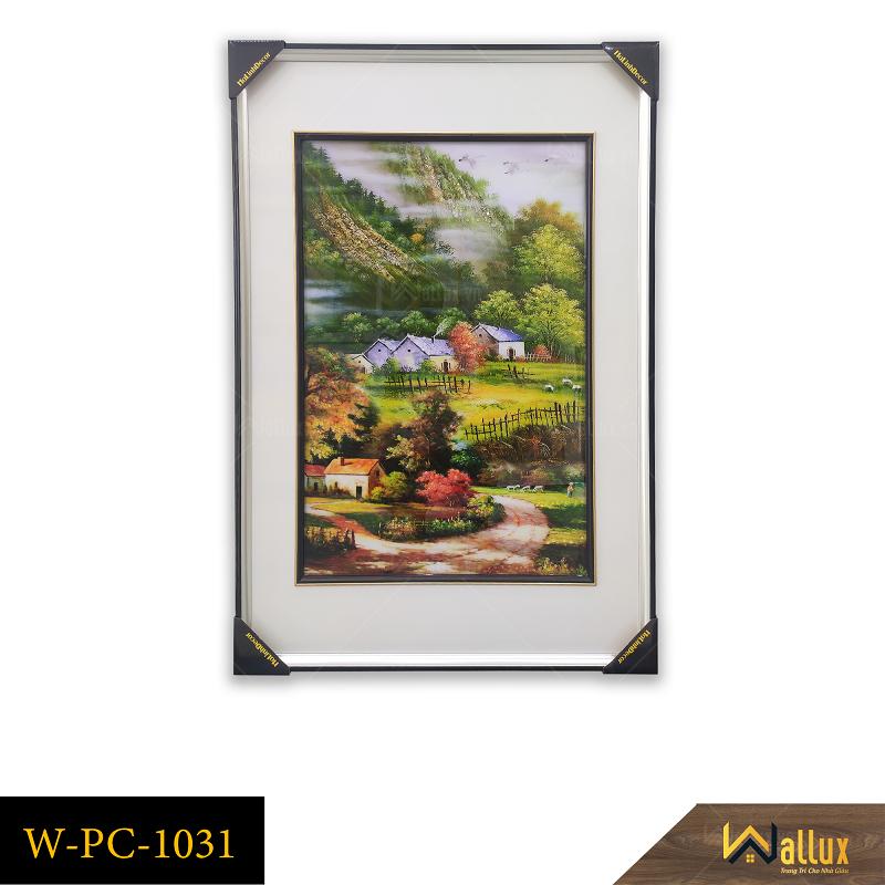 Tranh treo tường pha lê tráng gương phong cảnh làng quê W-PC-1031