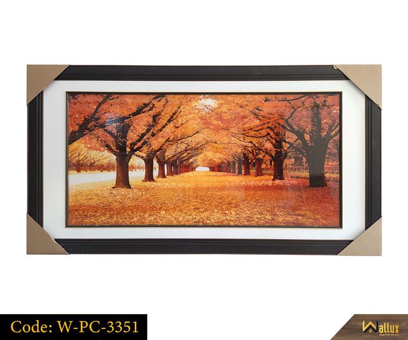 Tranh treo tường pha lê tráng gương cây lá vàng W-PC-3351
