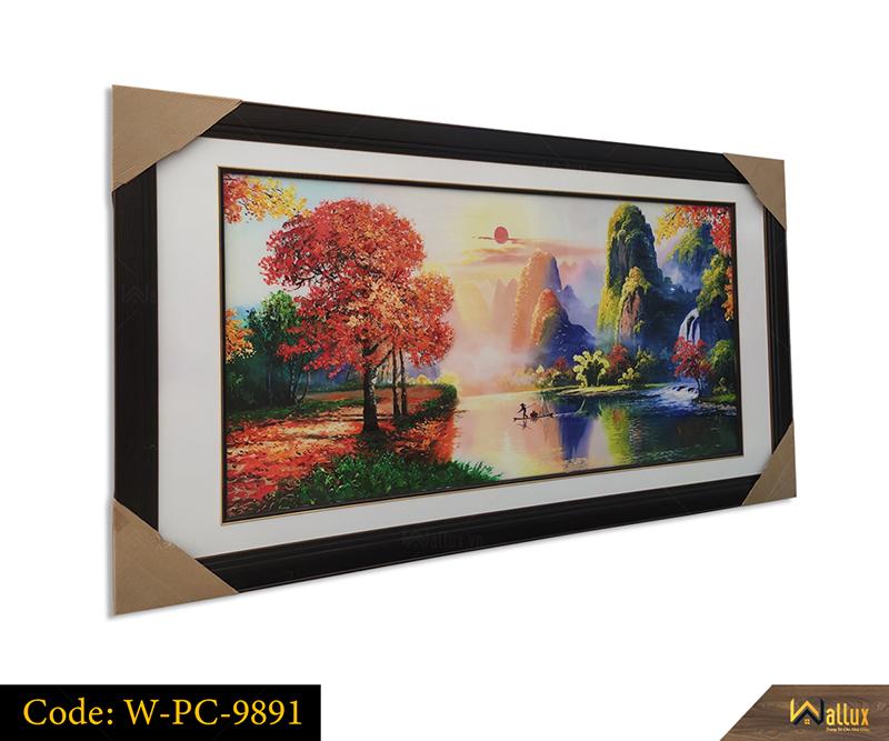 Tranh treo tường pha lê tráng gương phong cảnh sơn thủy W-PC-9891