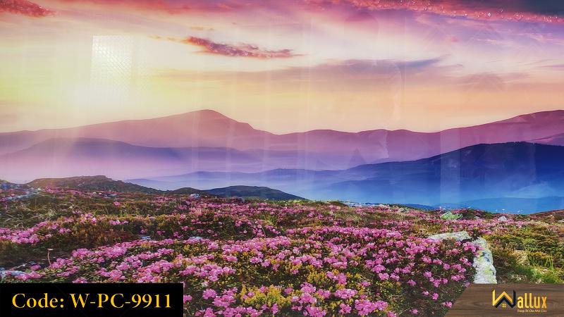 Tranh treo tường pha lê tráng gương đồi hoa sim W-PC-9911