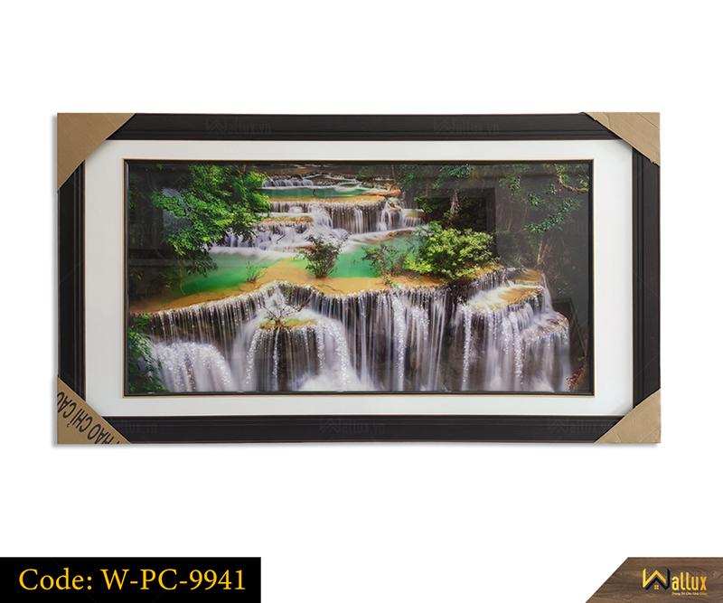 Tranh treo tường pha lê tráng gương phong cảnh suối nước W-PC-9941