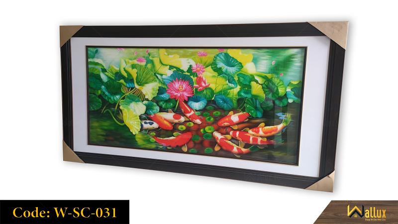 Tranh treo tường pha lê tráng gương cá chép hoa sen W-SC-031