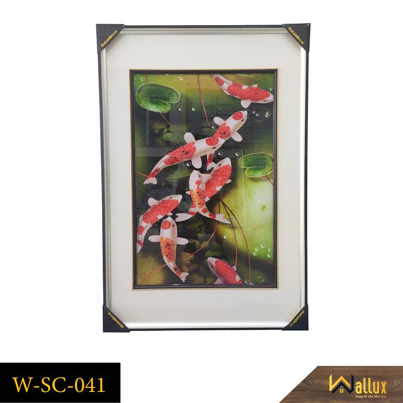 Tranh treo tường pha lê tráng gương cá chép hoa sen W-SC-041