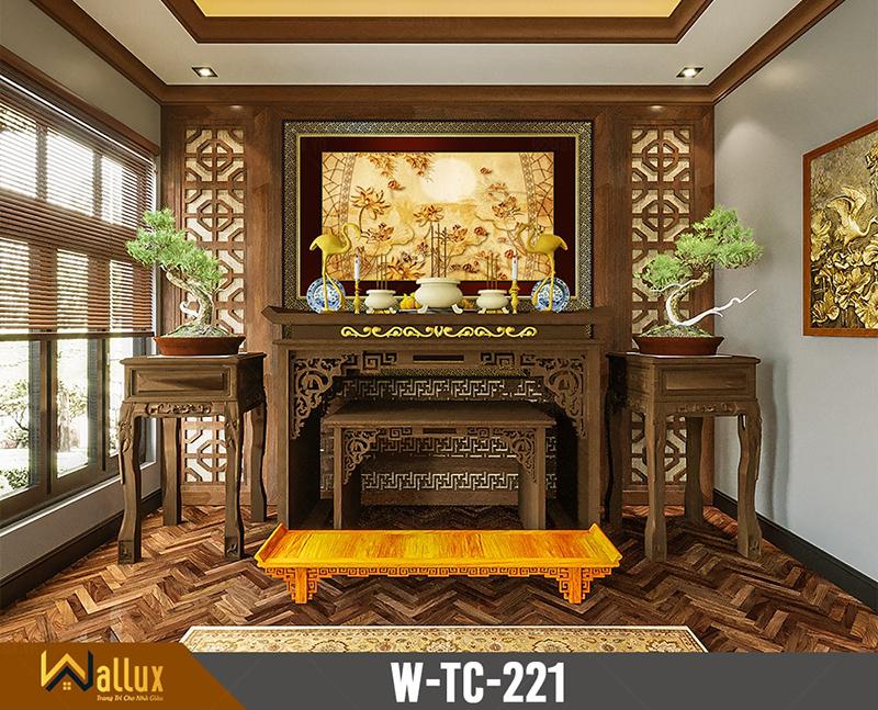Tranh trúc chỉ chạm nét ánh kim hoa sen W-TC-221 (197x127)