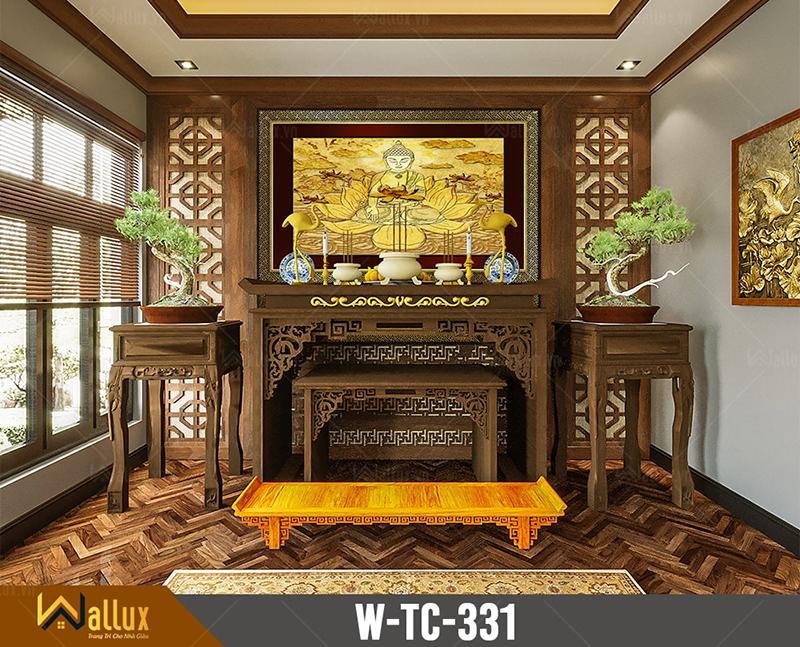 Tranh trúc chỉ chạm nét ánh kim đức phật W-TC-331 (197x127)